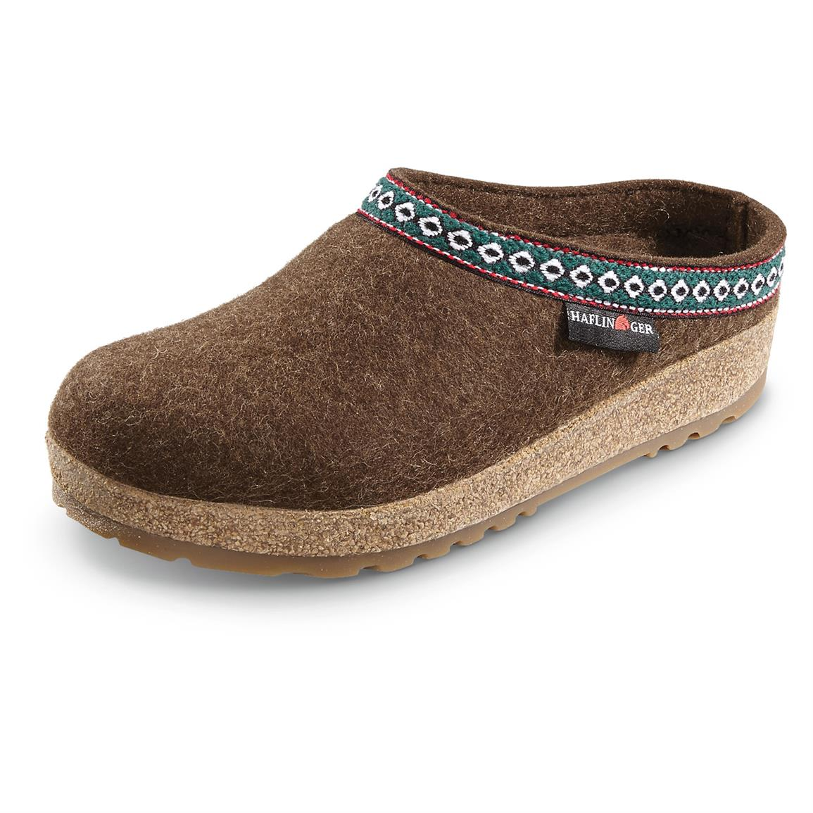 Men's and Women's Haflinger Classic Grizzly Clogs, Chocolate