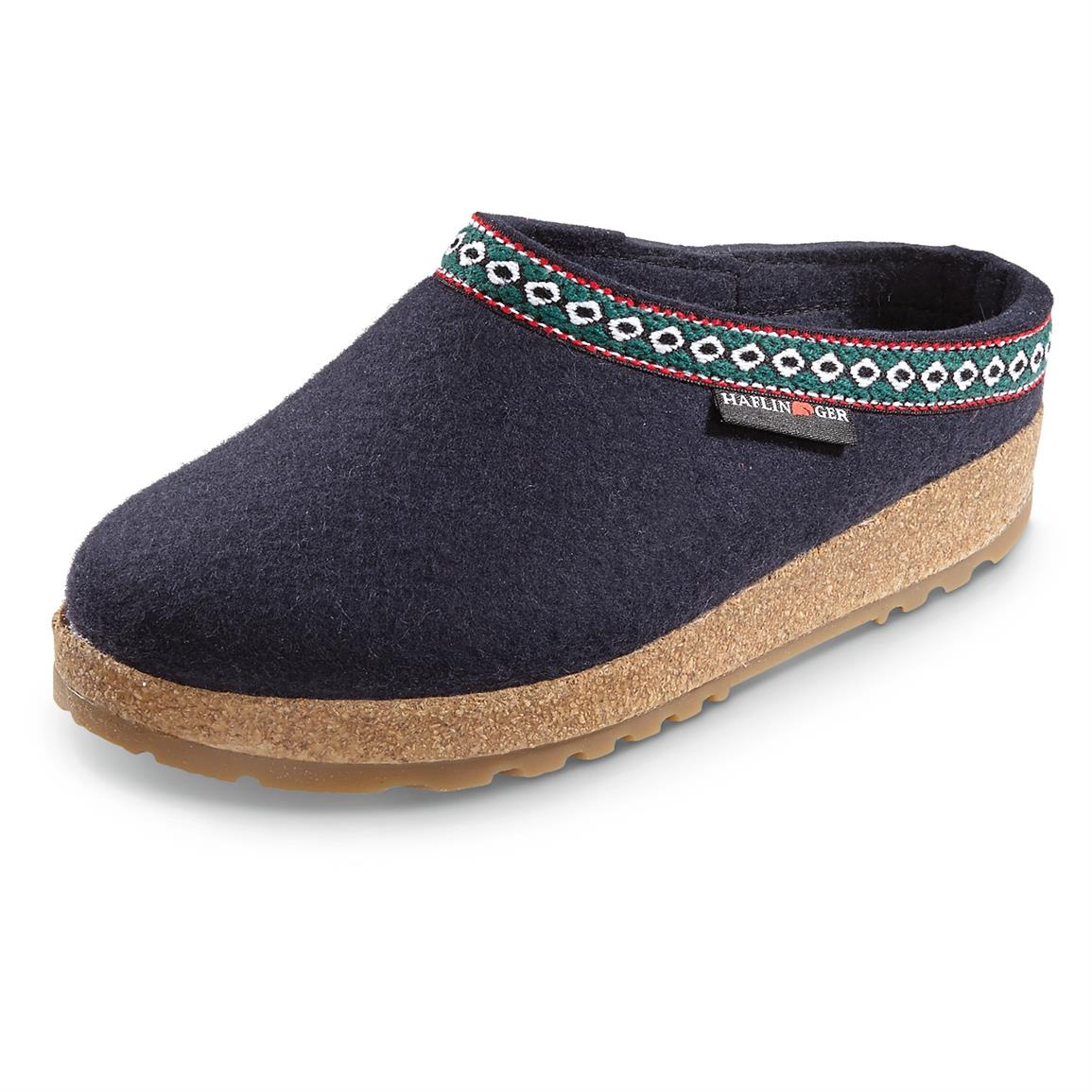Men's and Women's Haflinger Classic Grizzly Clogs, Navy