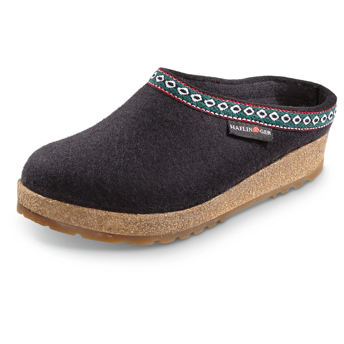 Men's and Women's Haflinger Classic Grizzly Clogs, Black