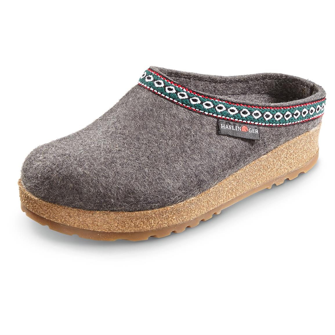 Men's and Women's Haflinger Classic Grizzly Clogs, Gray