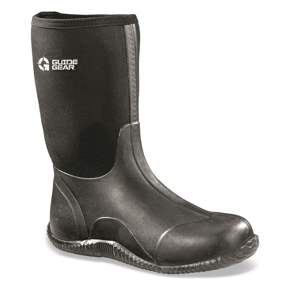 Guide Gear Men's Mid Bogger Waterproof Rubber Boots, Black