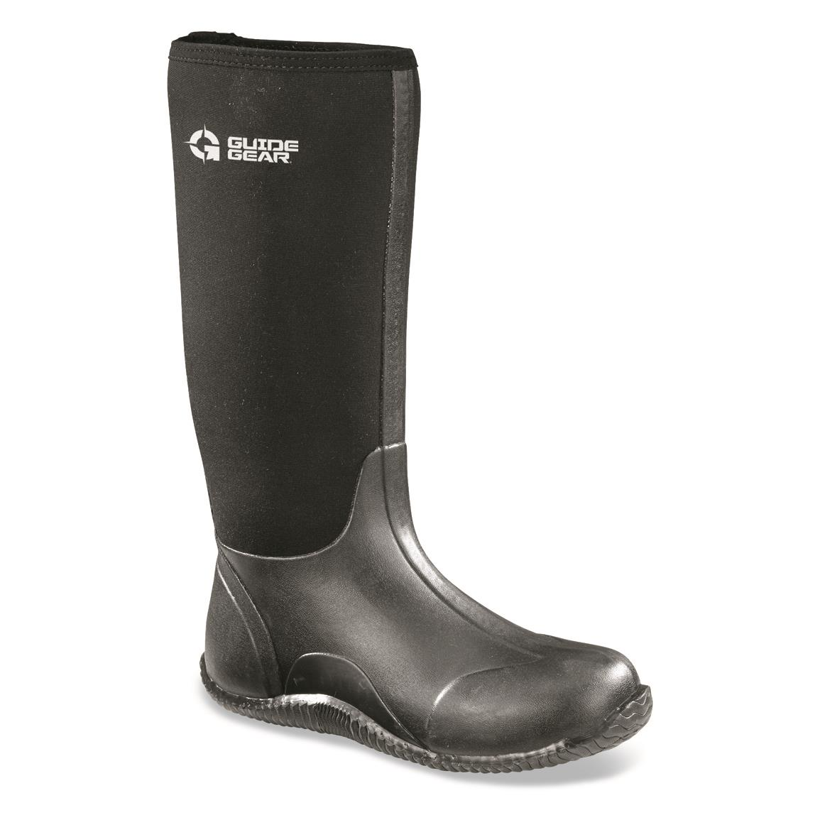 Guide Gear Women's High Bogger Rubber Boots, Black