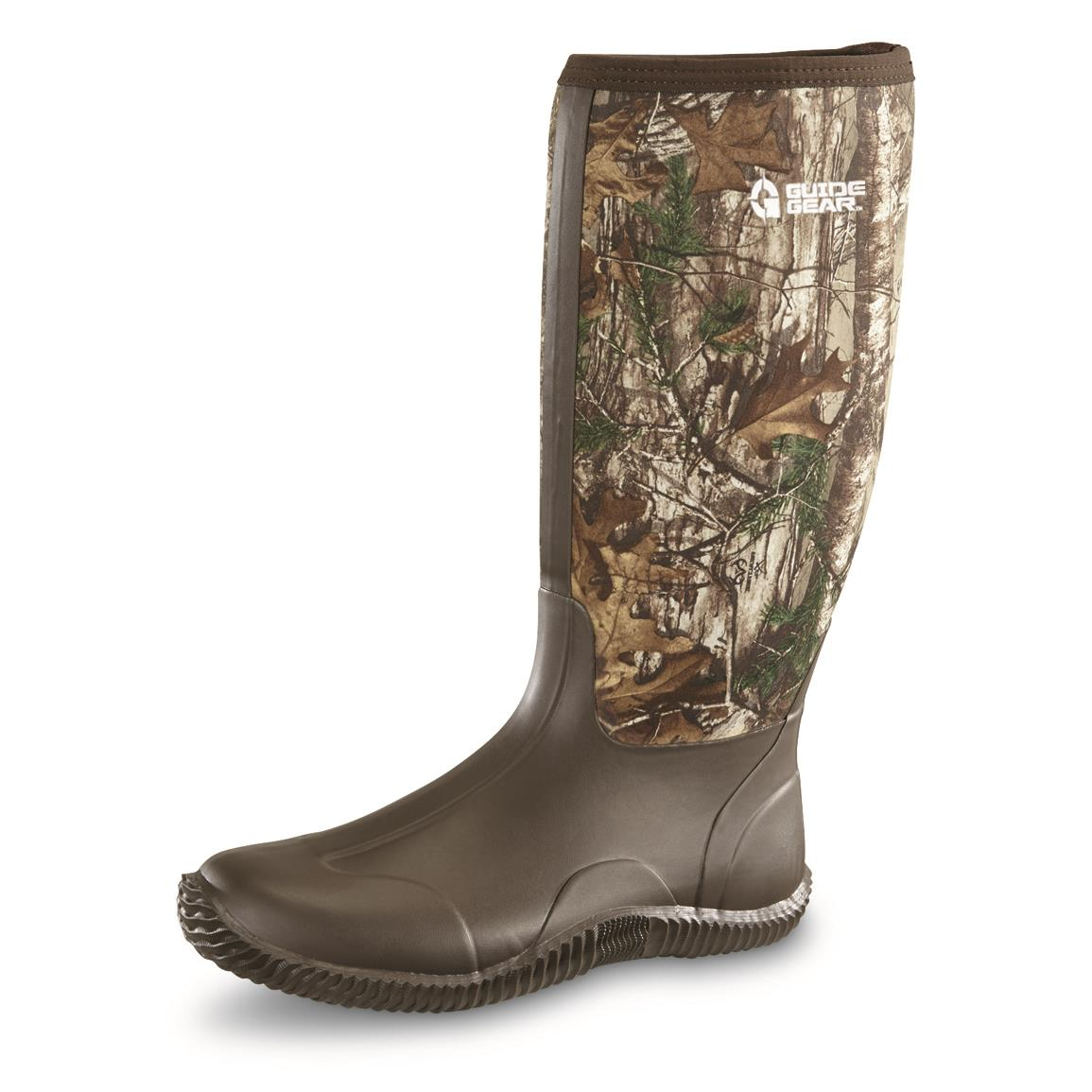 Guide Gear Men's High Camo Waterproof Rubber Boots, Realtree Xtra