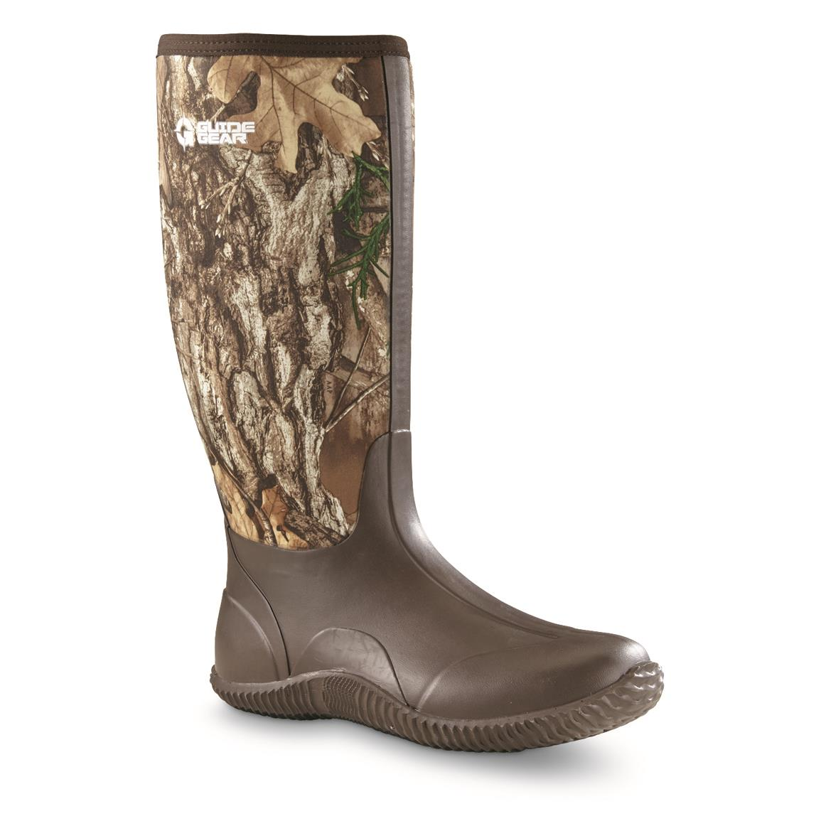 Guide Gear Men's High Camo Bogger Rubber Boots, Realtree Edge, Realtree EDGE™