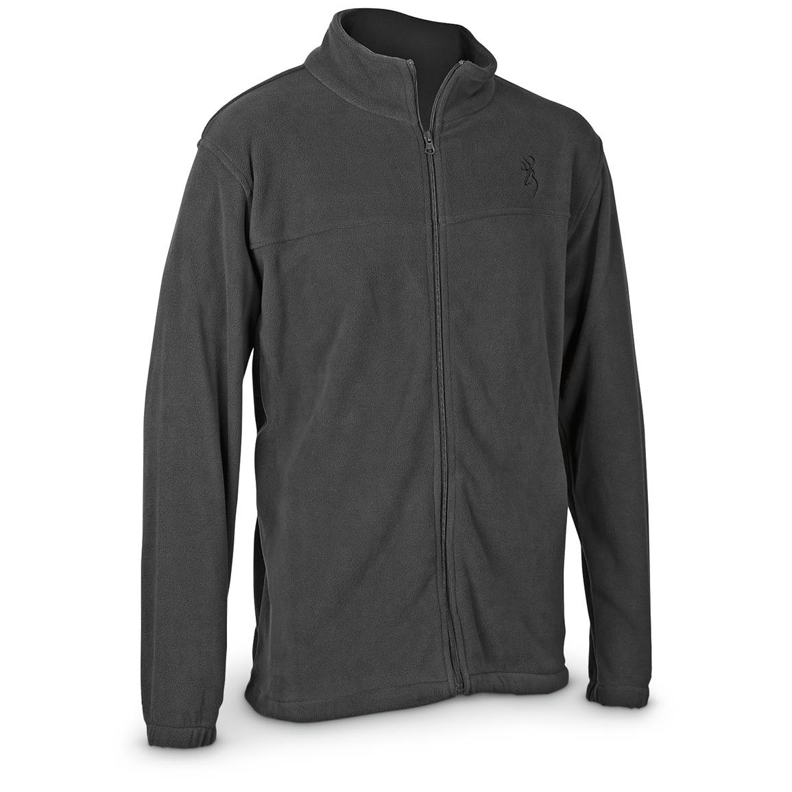 Browning Men's Fleece Full Zip Jacket, Charcoal