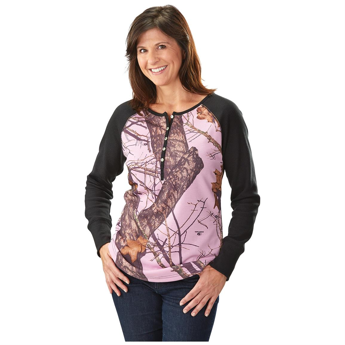 Guide Gear® Women's Camo Henley Shirt, Mossy Oak Break-Up /  Pink