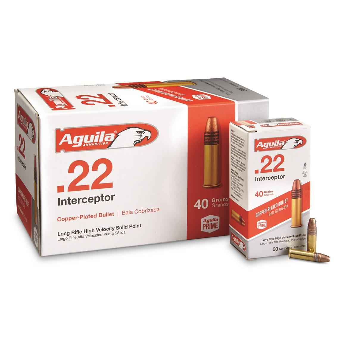 Aguila Interceptor, .22LR, Plated Lead Round Nose, 40 Grain, 500 Rounds
