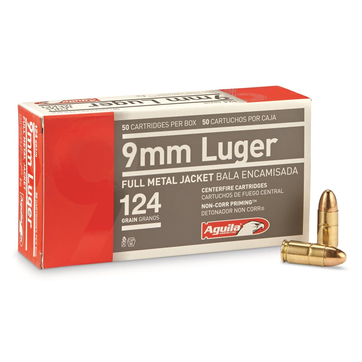 Aguila, 9mm, FMJ, 124 Grain, 50 Rounds
