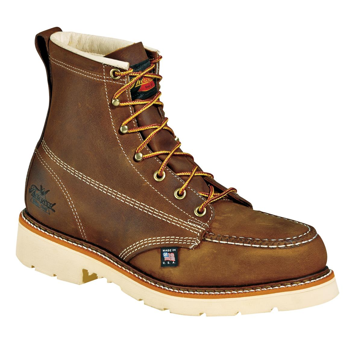 "Thorogood 6"" Steel Toe Job Pro Moc Toe Boots, Brown"