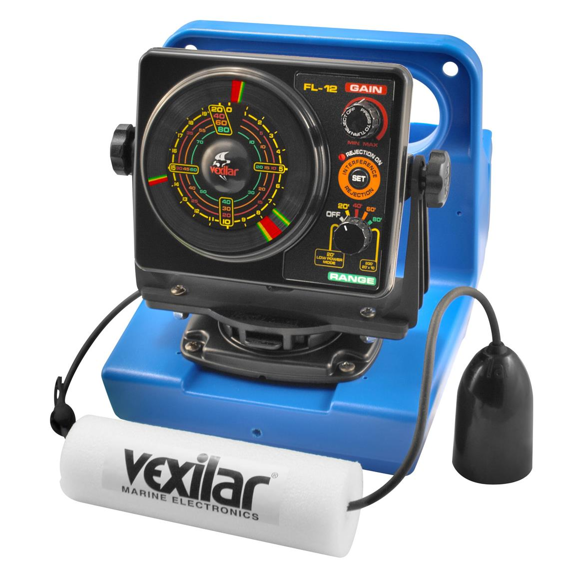 Vexilar fl 12 genz pack flasher fishfinder with 12 degree for Ice fishing electronics