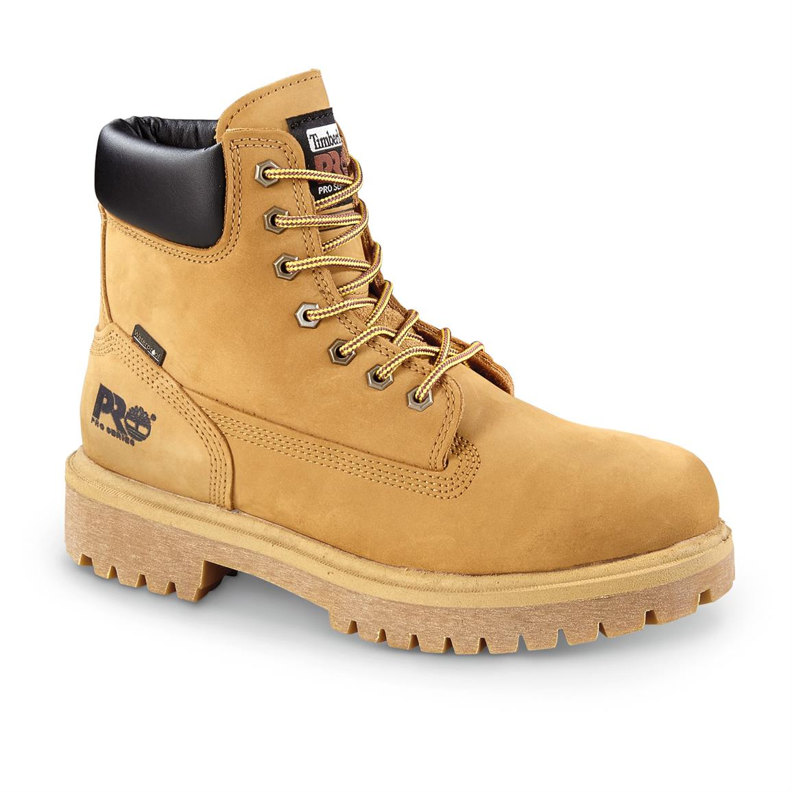 "Timberland PRO Direct Attach 6"" Soft Toe Waterproof Work Boots, Wheat"
