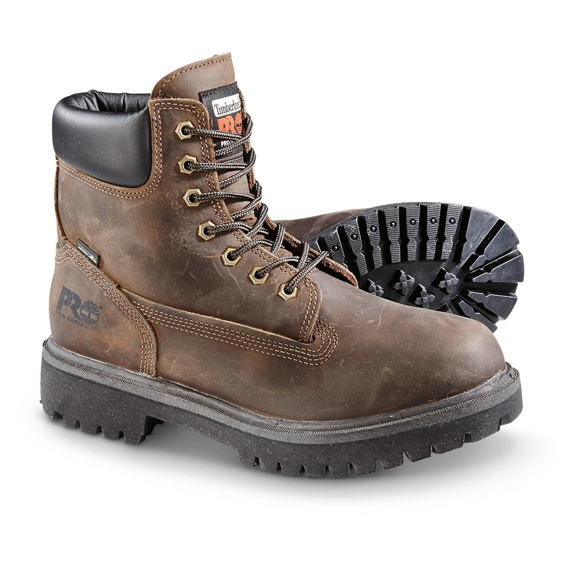 "Timberland PRO Direct Attach 6"" Soft Toe Waterproof Work Boots, Brown"