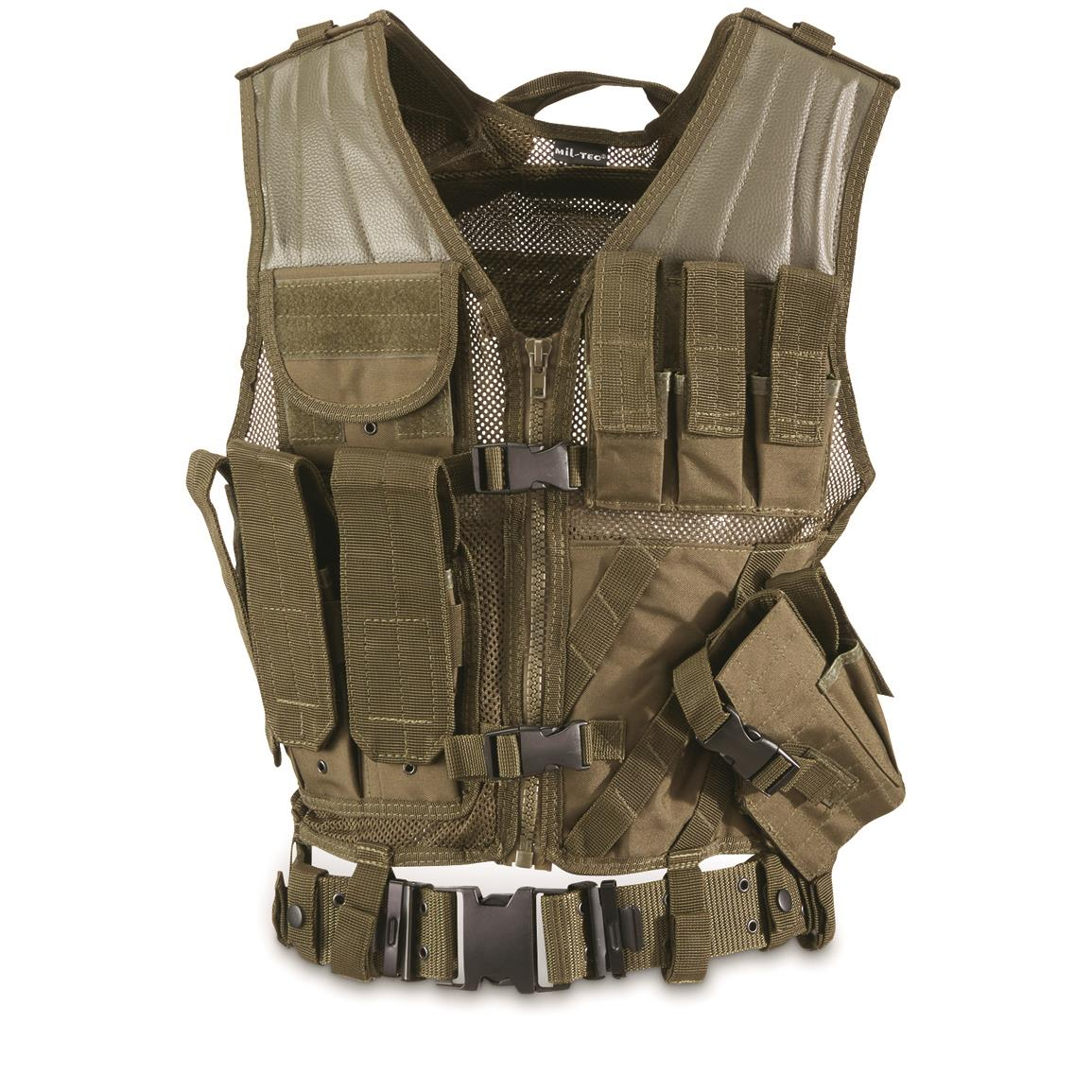Mil-Tec Olive Drab Combat Vest with Belt