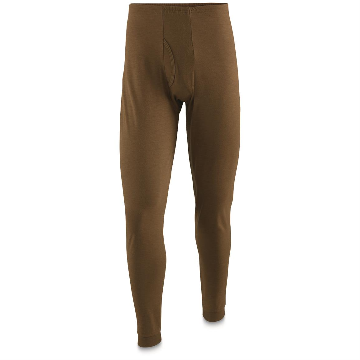 U.S. Military Surplus Potomac Flame-Resistant Field Gear Base Layer Long Johns, New, Brown