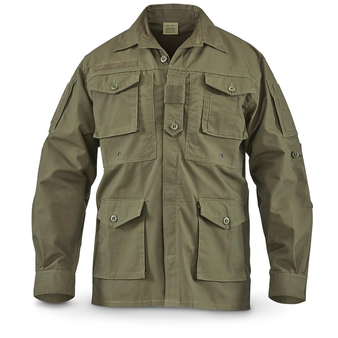 Men's Mil-Tec Commando Jacket, Padded Elbows, Olive Drab