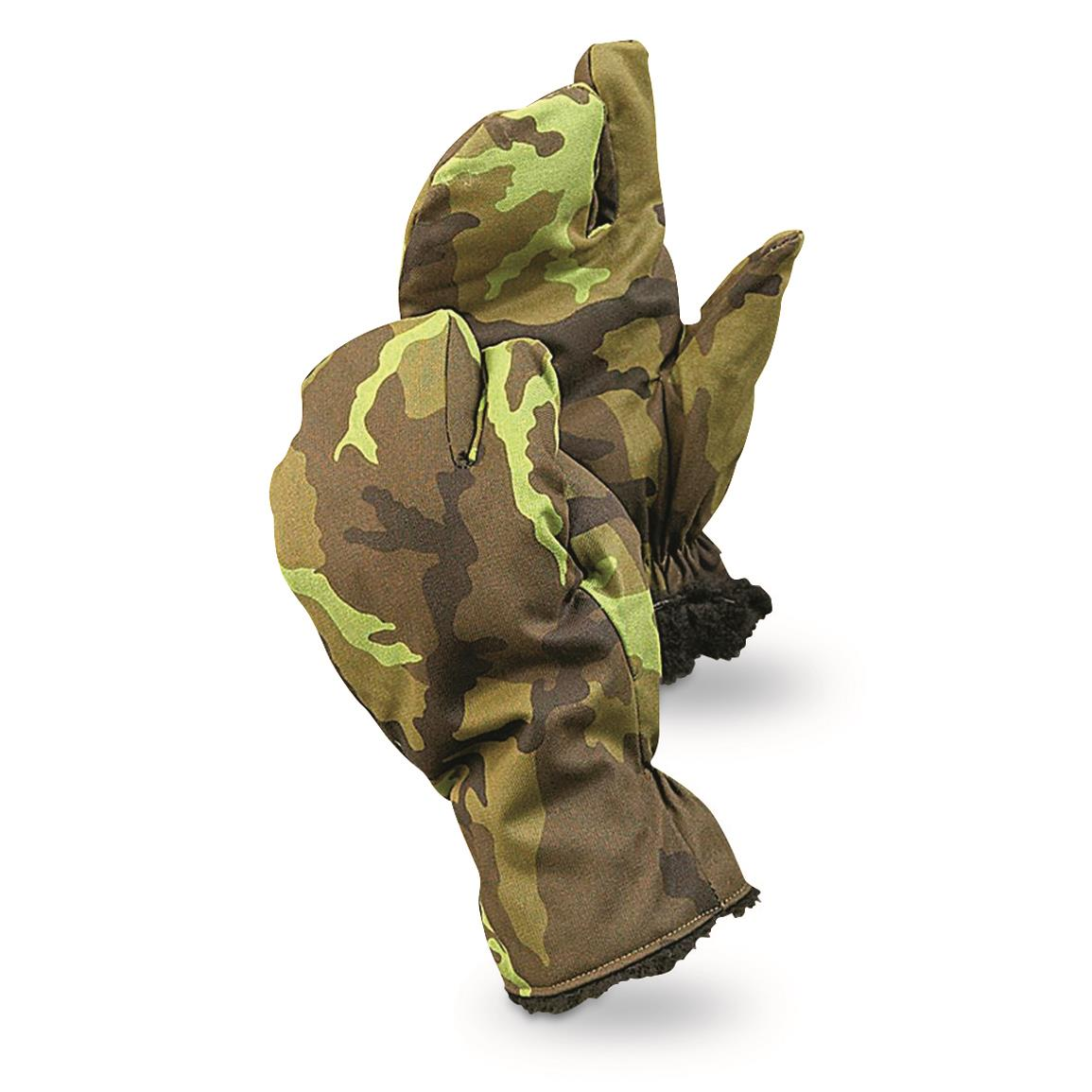 Czech Military Surplus M95 Camo Trigger Mitts, 3 Pack, Like-New, Woodland