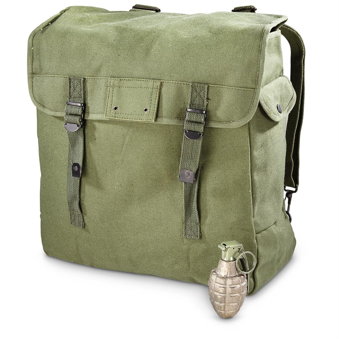 Military-style Canvas Musette Bag, Olive Drab
