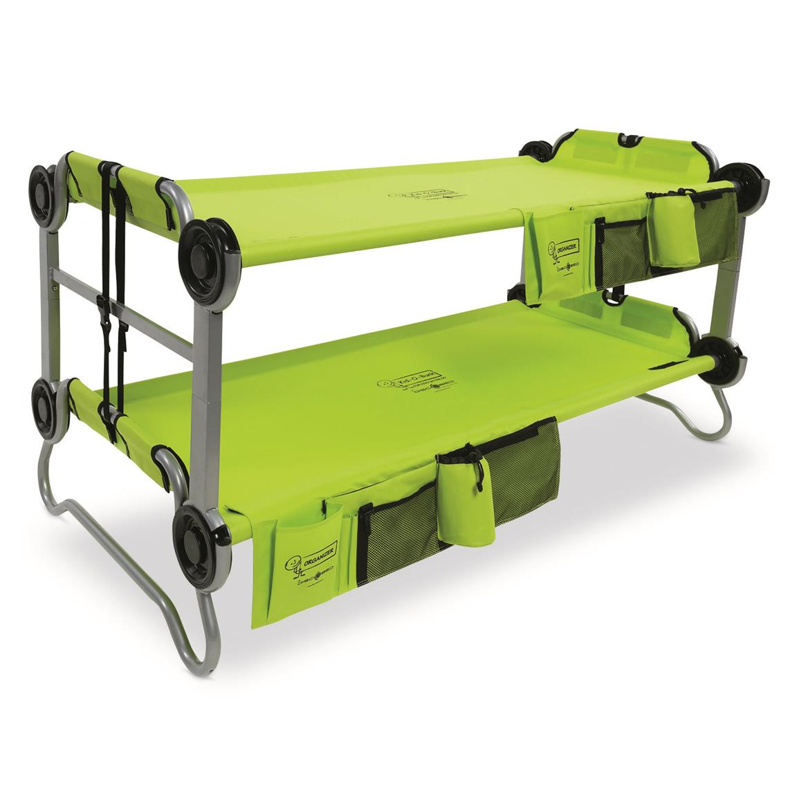 Disc-O-Bed Youth Kid-O-Bunk Portable Bunk Bed with Organizers, Lime Green