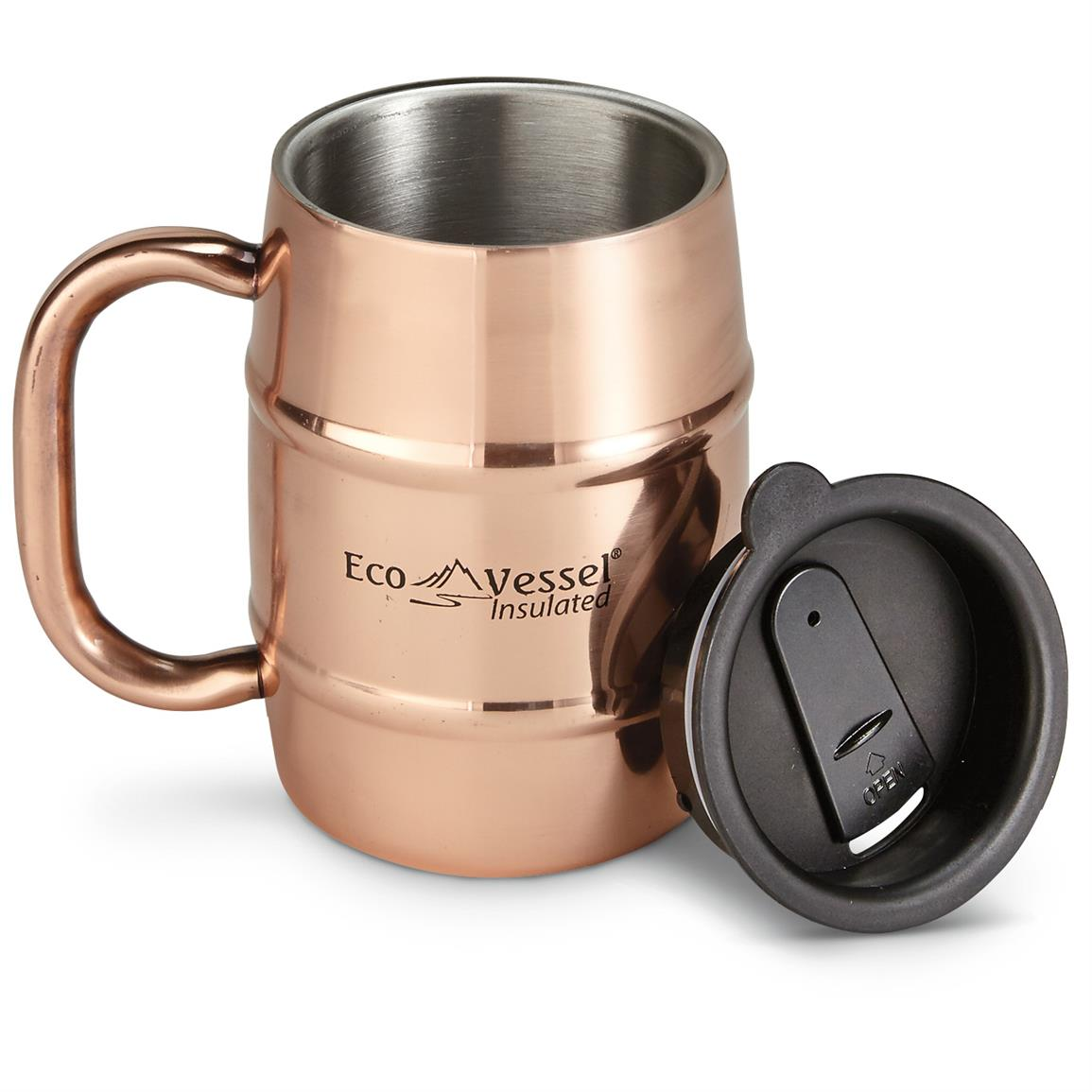 Eco Vessel Double Barrel Insulated Copper Beer / Coffee Mug, 16 oz