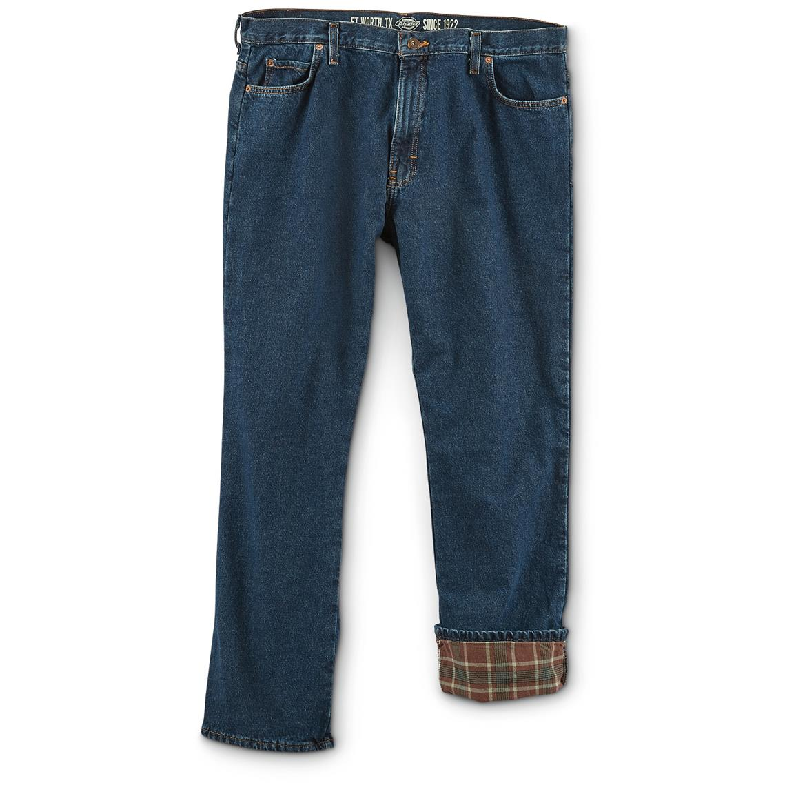 Dickies Men's Flannel Lined Relaxed Fit Jeans, Slight Irregulars, Stonewash