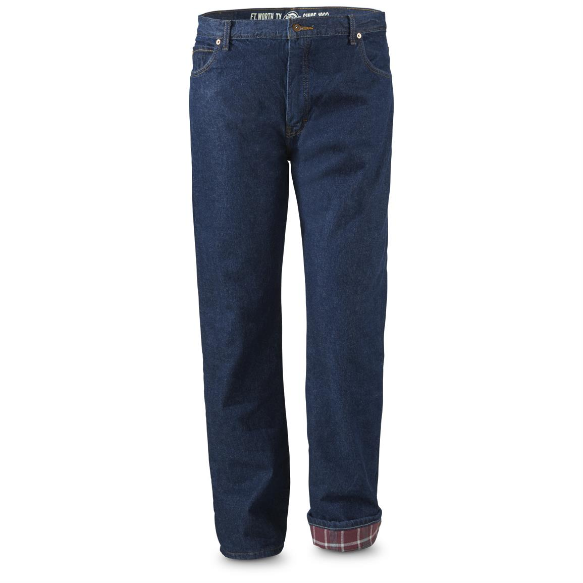 Dickies Men's Flannel Lined Relaxed Fit Jeans, Slight Irregulars, Rinsed Navy