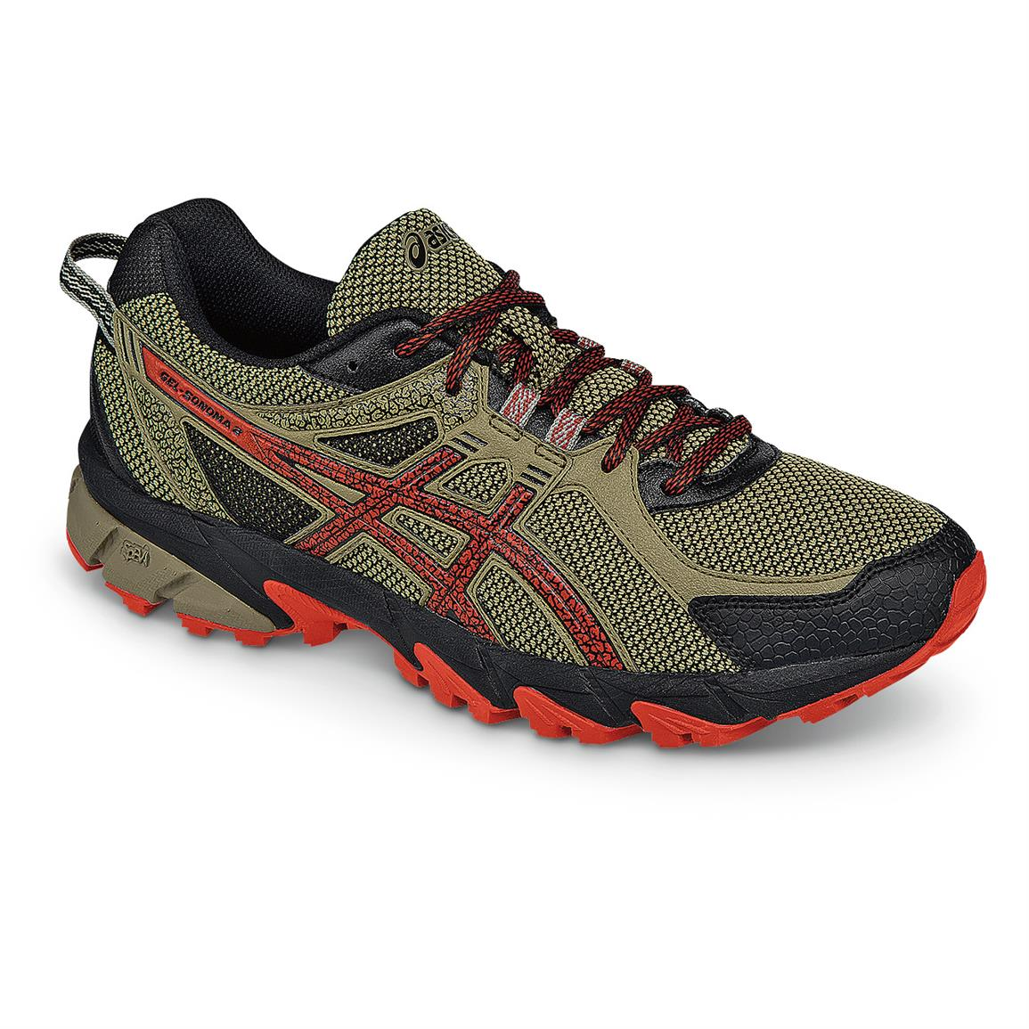 ASICS Men's GEL-Sonoma 2 Running Shoes, Bark / Orange / Black