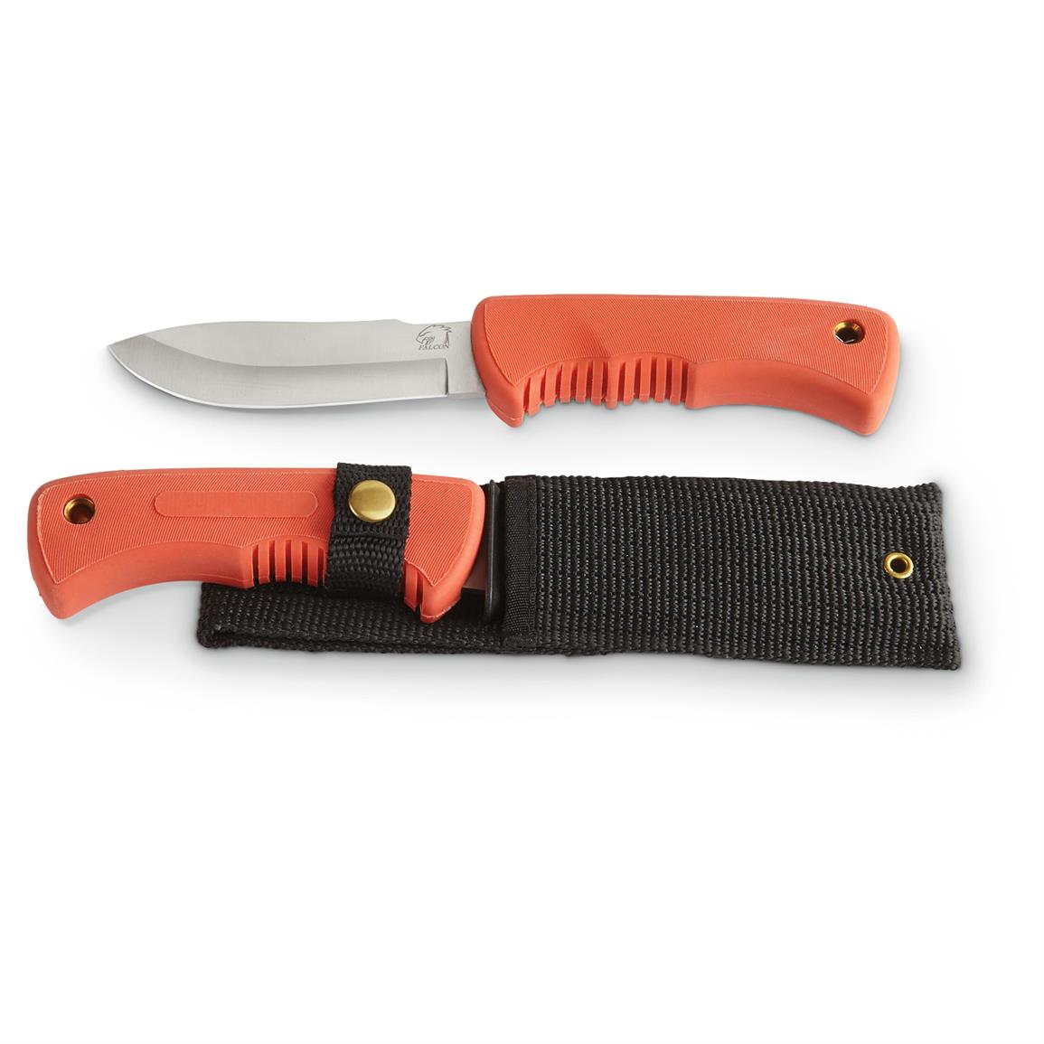 2-Pk. of Orange Drop-point Hunting Knives