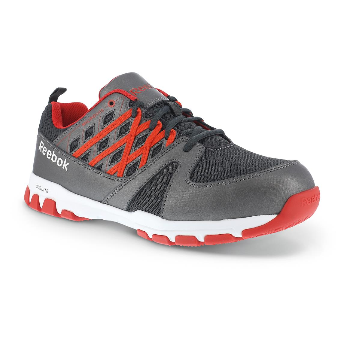Men's Reebok Sublite Work Shoes, Static Dissipating, Gray / Red