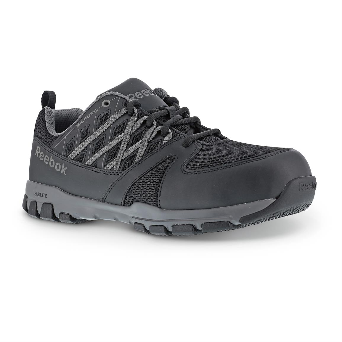 Men's Reebok Sublite Steel Toe Work Shoes, Black/Gray