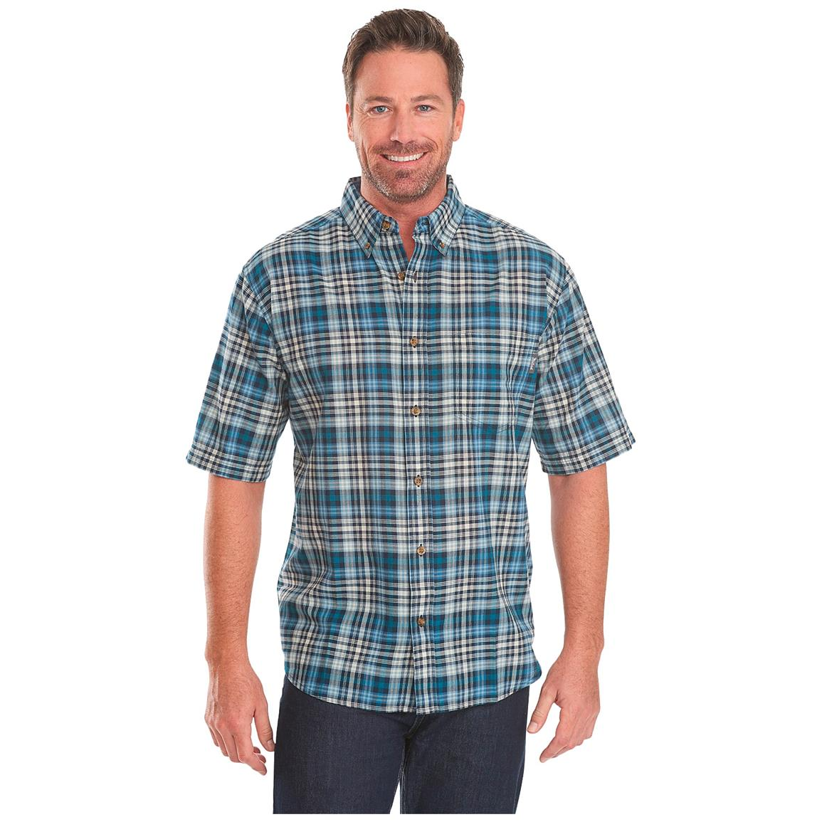 Woolrich Men's Timberline Short Sleeve Shirt, Nordic Blue