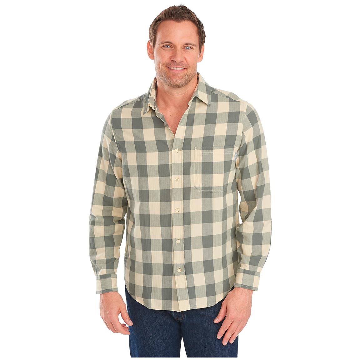 Woolrich Men's Cedar Springs Plaid Long Sleeve Shirt, Field Gray