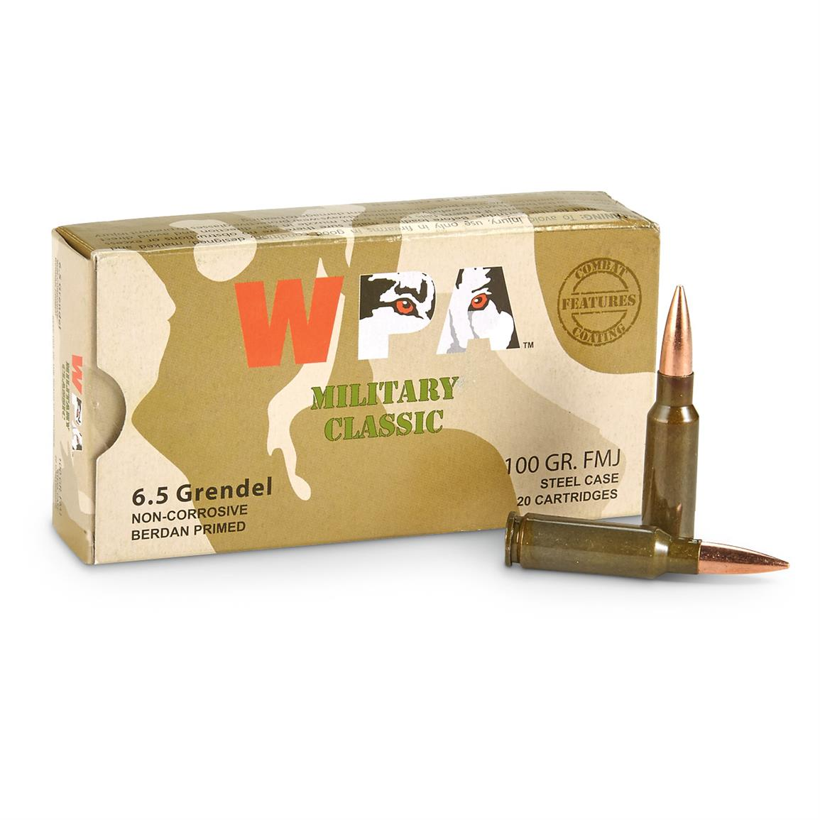 Wolf Military Classic, 6.5 Grendel, FMJ, 100 Grain, 500 Rounds