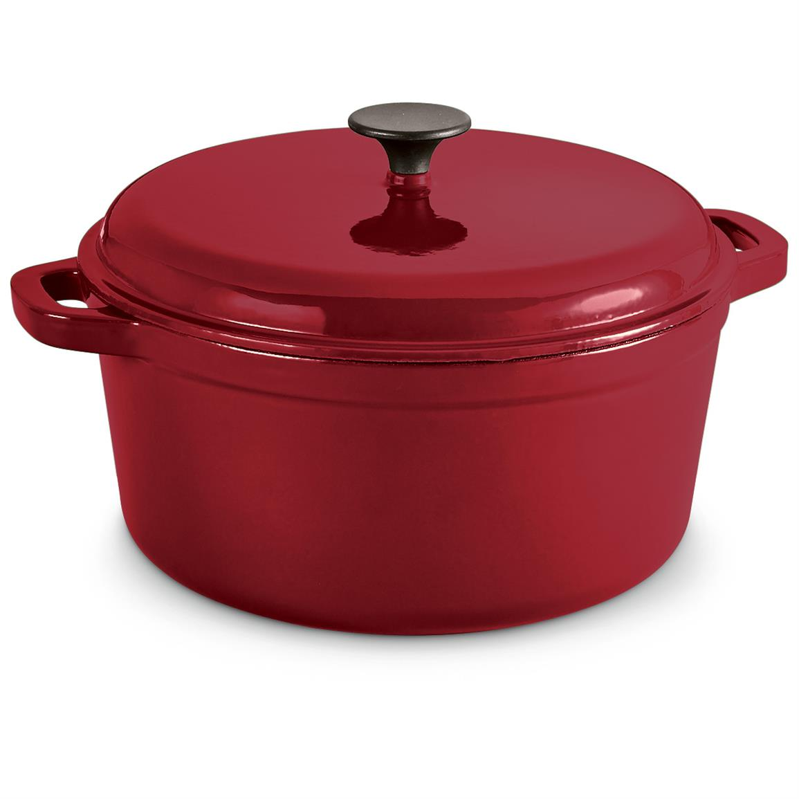 CASTLECREEK Enameled Cast Iron 6.5-liter Dutch Oven with Lid, Red