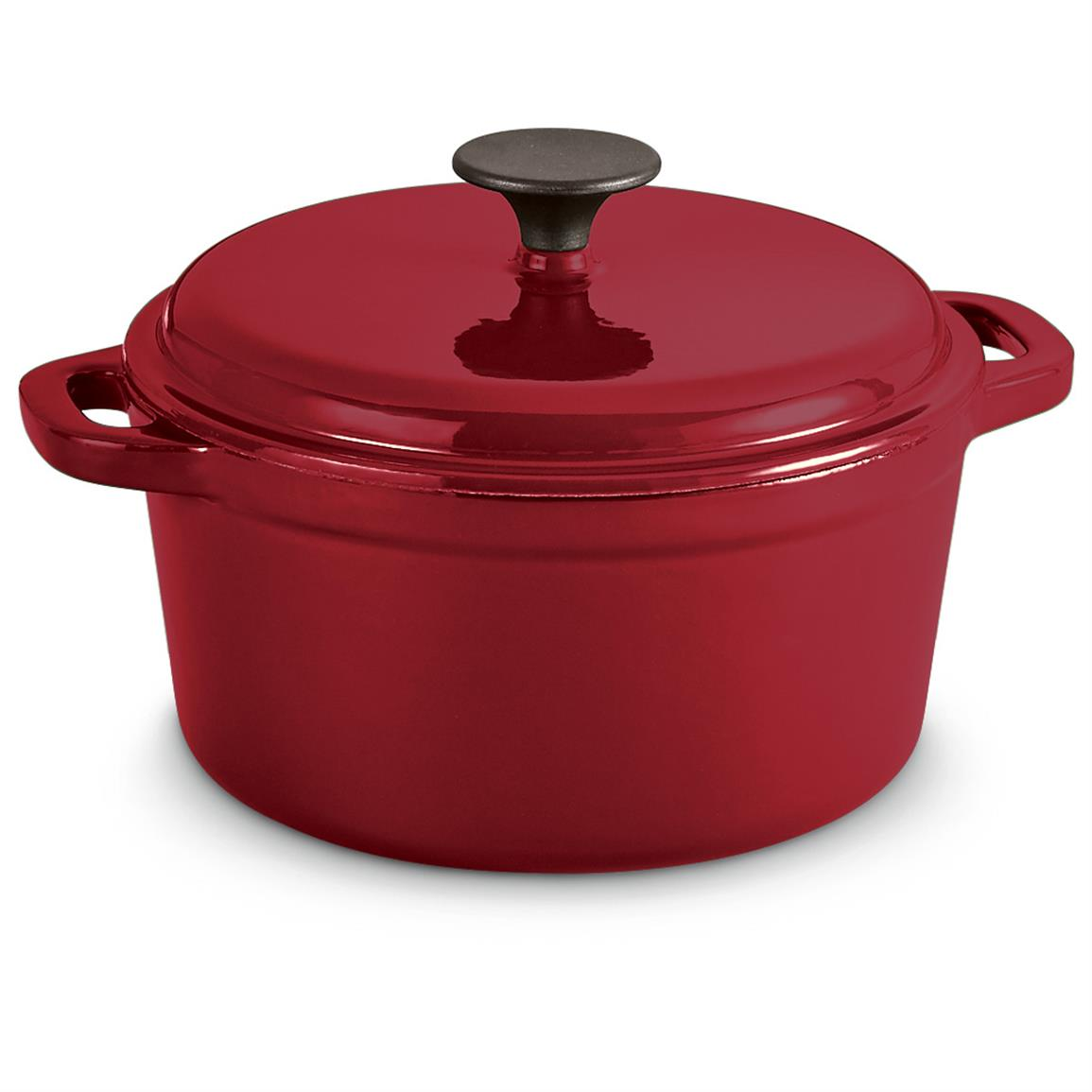 CASTLECREEK Enameled Cast Iron 3-Liter Dutch Oven with Lid, Red