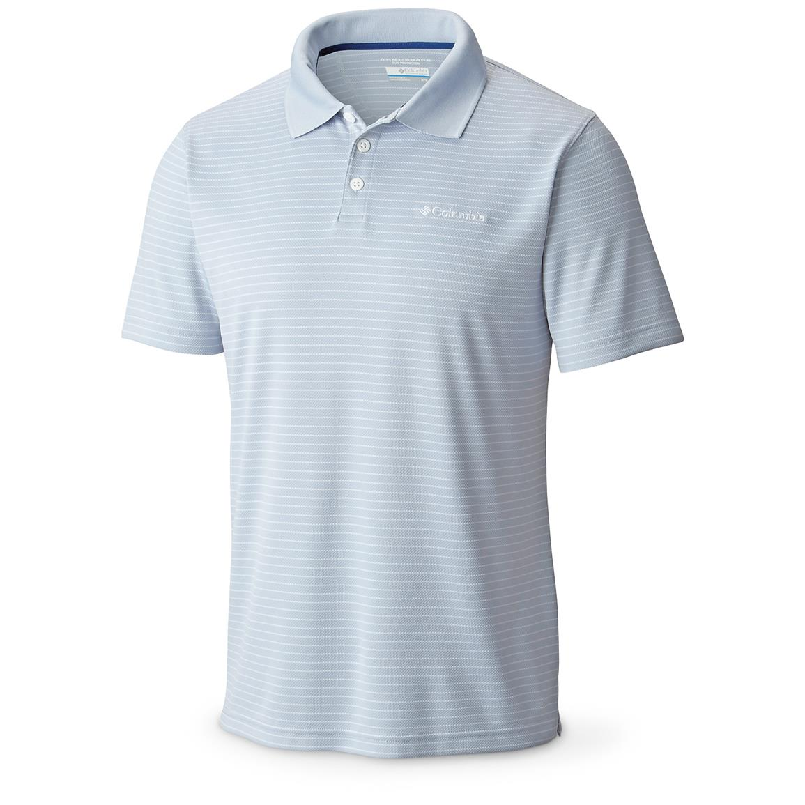 Columbia Men's Sportswear Utilizer Stripe Polo III Shirt, Cirrus Grey