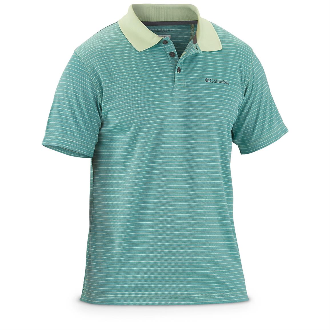 Columbia Men's Sportswear Utilizer Stripe Polo III Shirt, Nappa Green