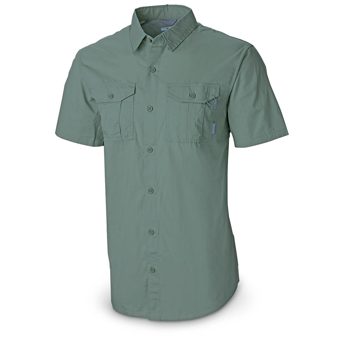 Columbia Men's Pine Park Short-sleeve Cotton Shirt, Gemstone