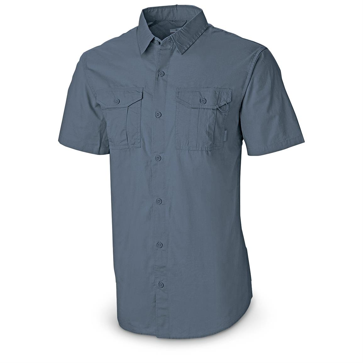 Columbia Men's Pine Park Short-sleeve Cotton Shirt, Steel