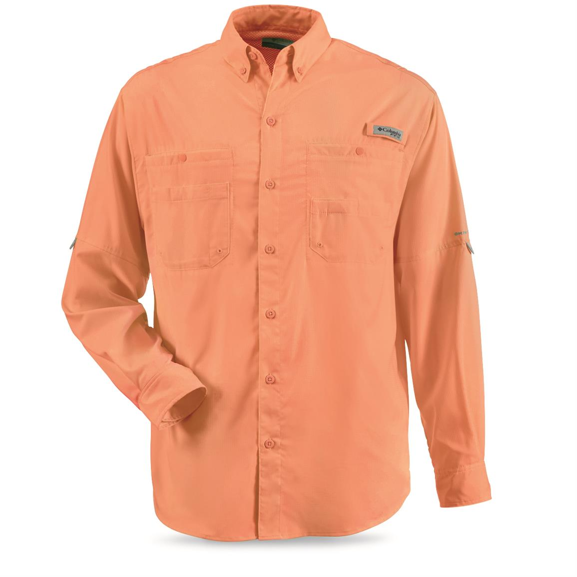 Columbia Men's PFG Tamiami II Long-Sleeve Shirt, Bright Peach