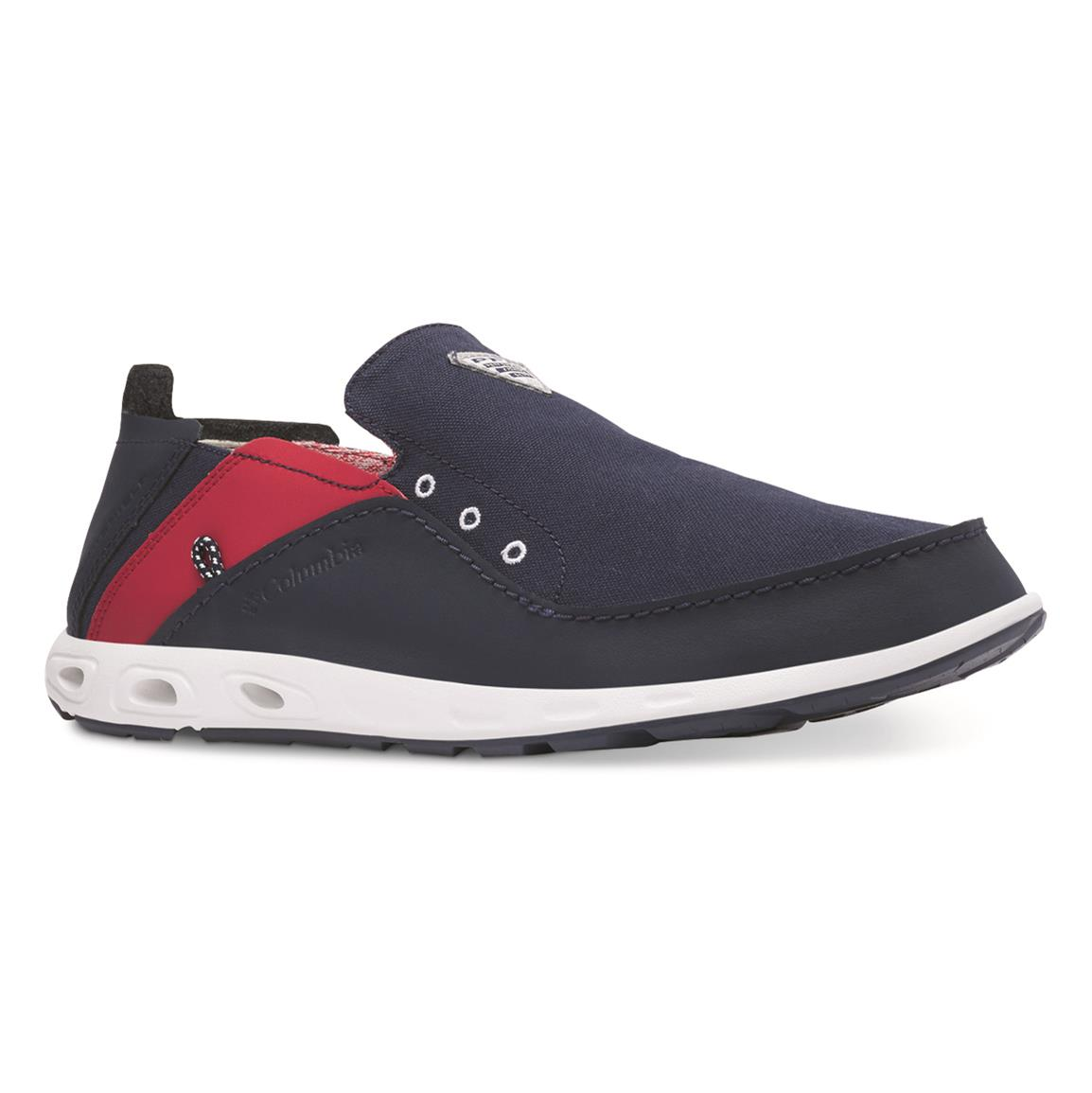Columbia Men's Bahama Vent PFG Slip On Fishing Boat Shoes, Collegiate Navy/rocket