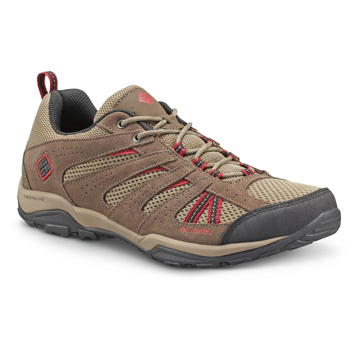 Columbia Men's North Plains Drifter Low Hiking Shoes, Pebble / Red Dahlia