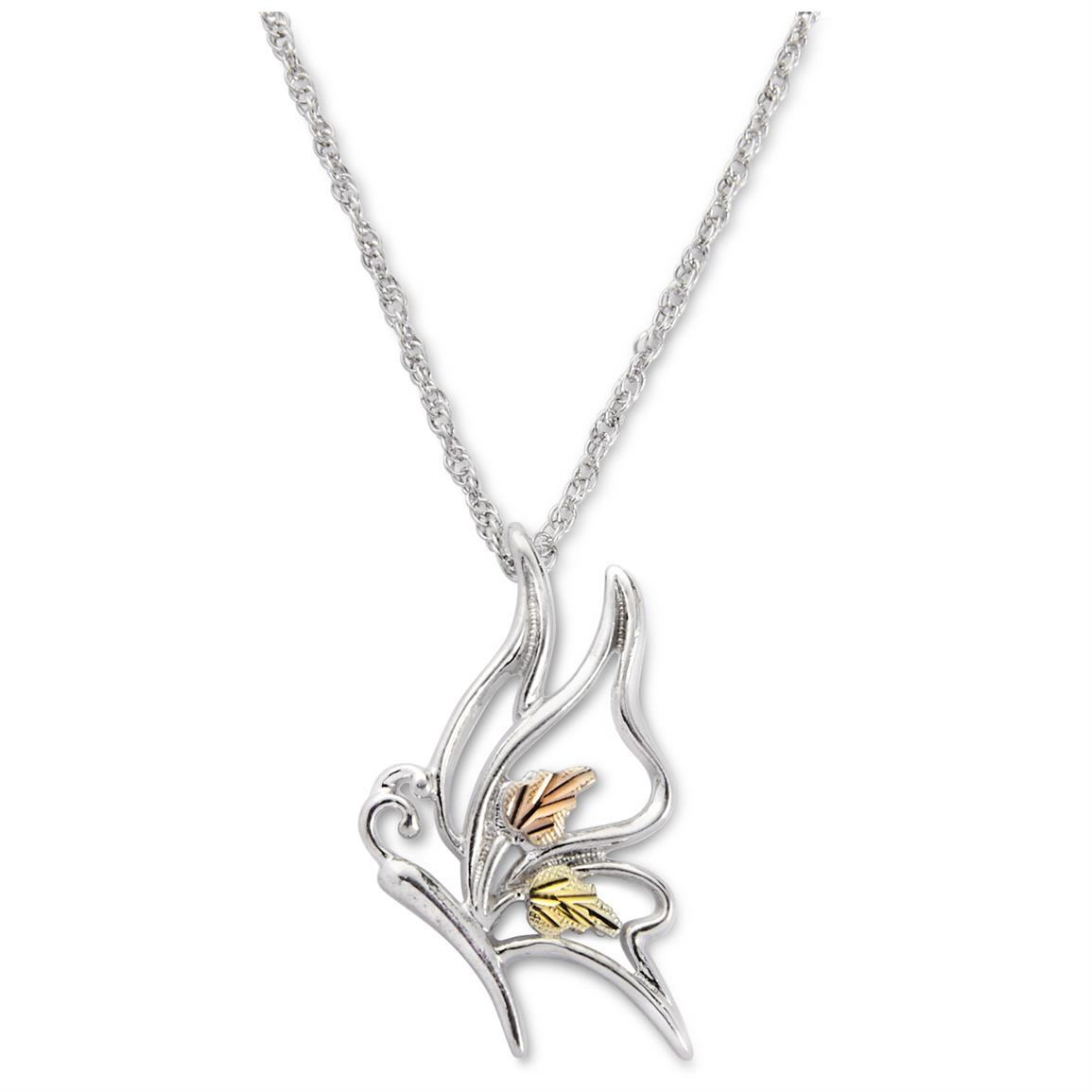 Black Hills Gold Silver Butterfly Pendant