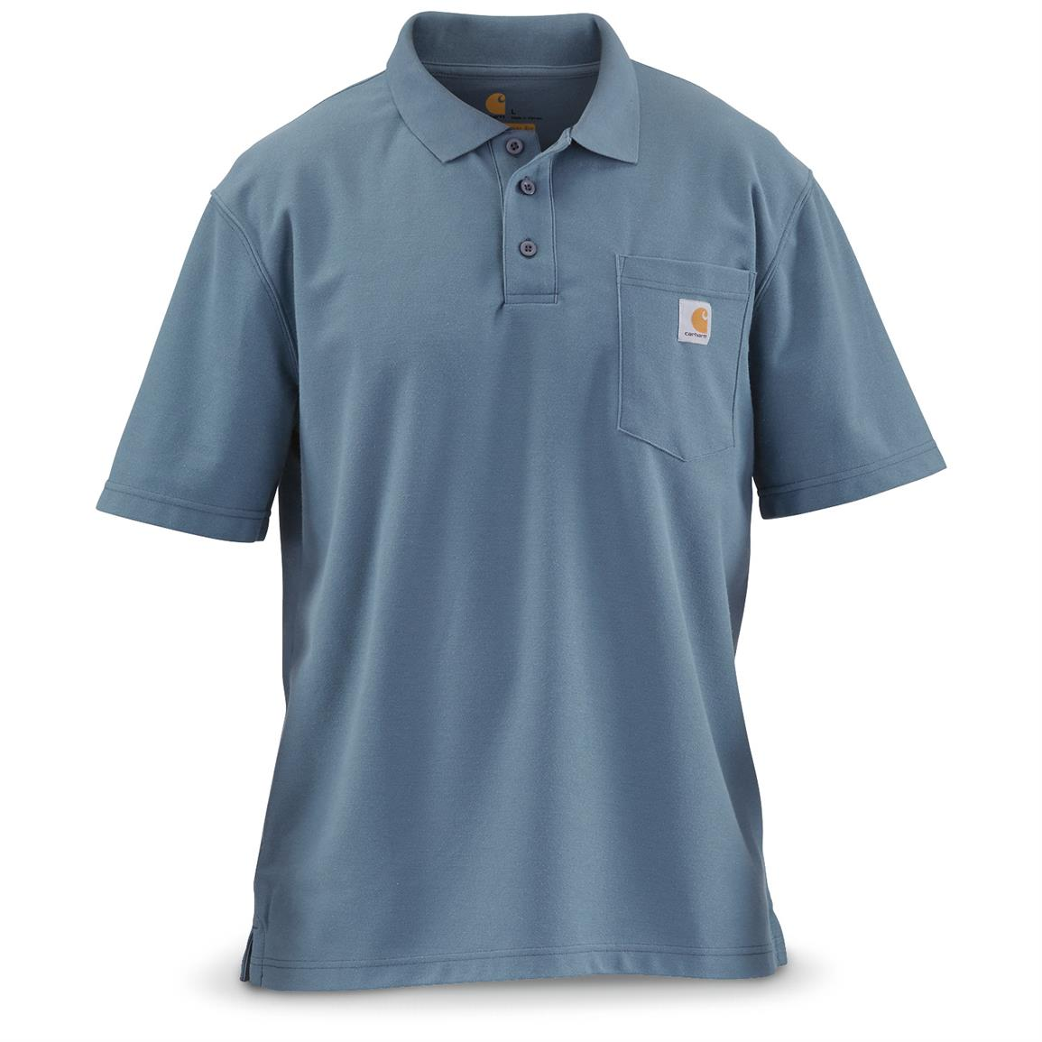 Carhartt Men's Contractor's Work Pocket Polo, Steel Blue