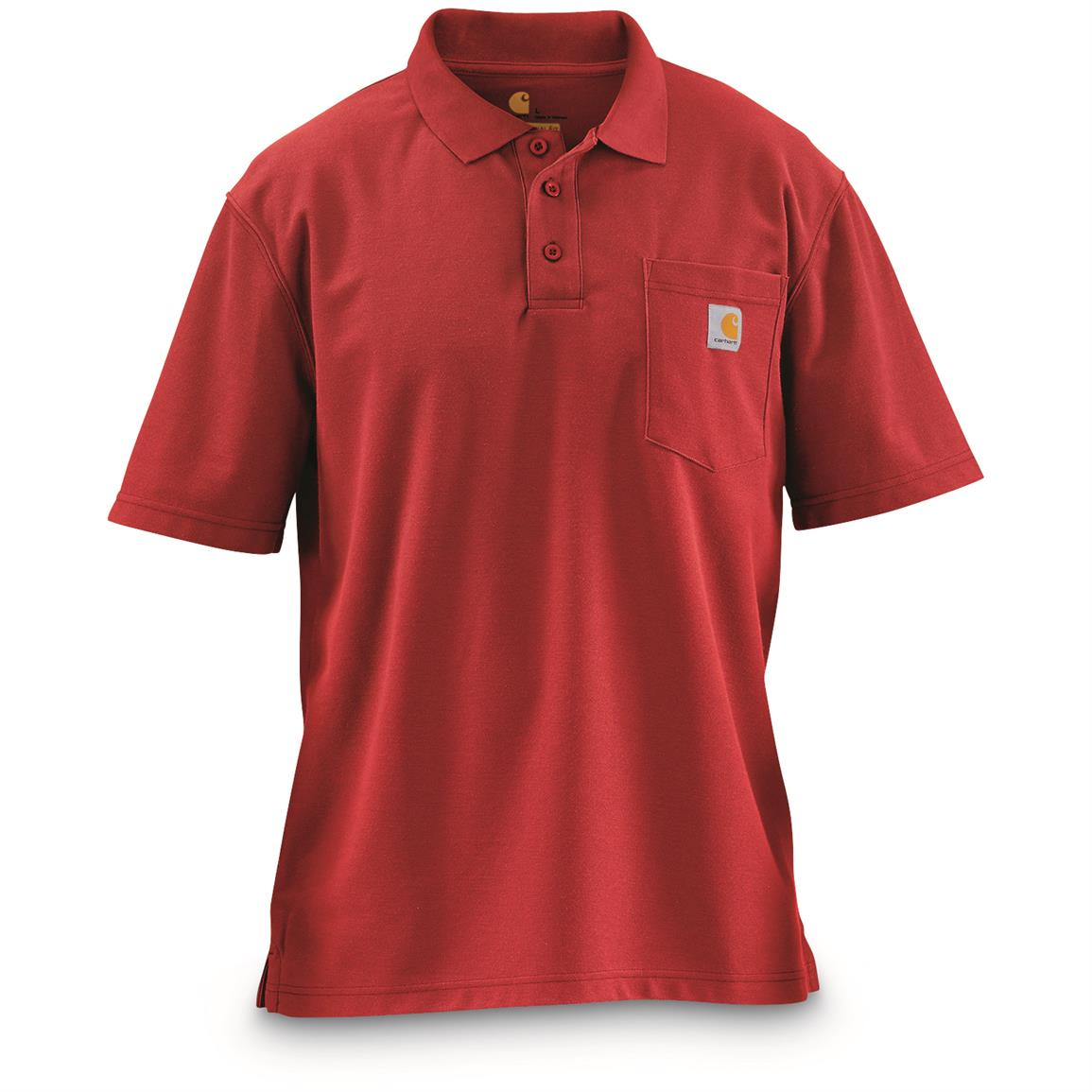 Carhartt Men's Contractor's Work Pocket Polo Shirt, Red
