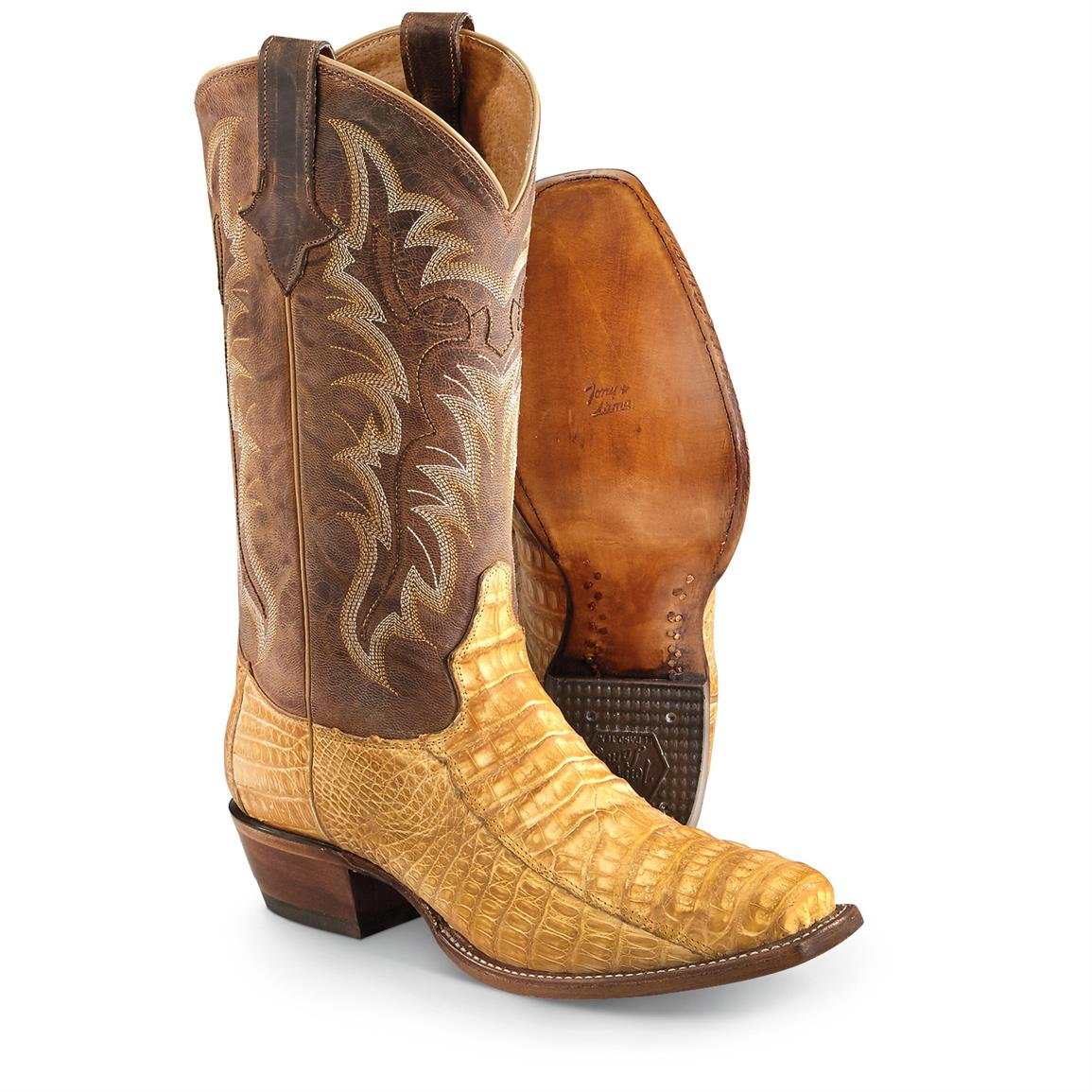 Tony Lama Suede Caiman Belly Cowboy Boots, Buttercup
