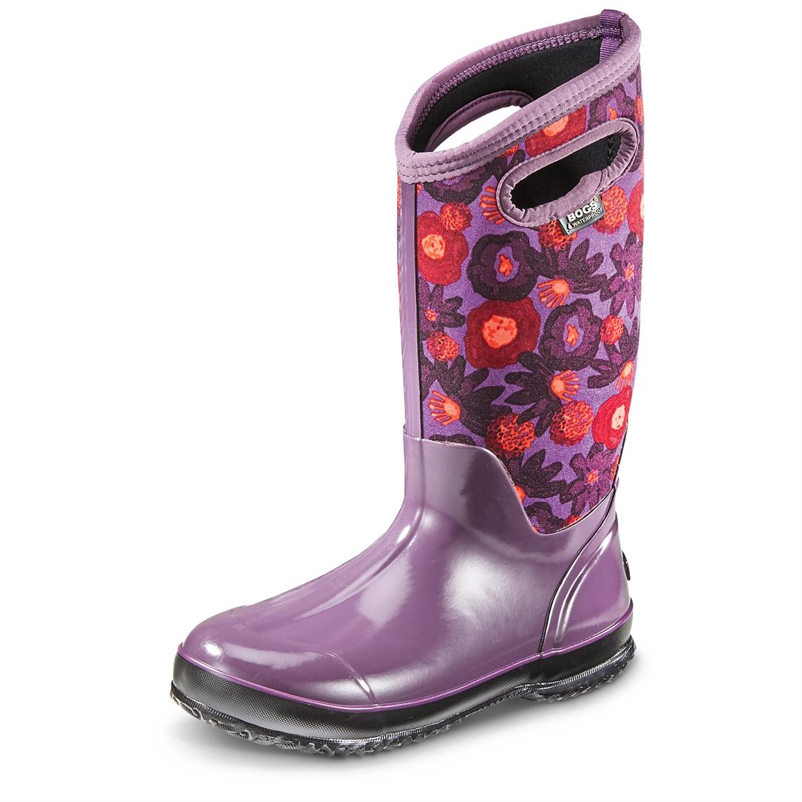 Bogs Women's Classic Watercolor Insulated Rubber Boots, Plum Multicolor