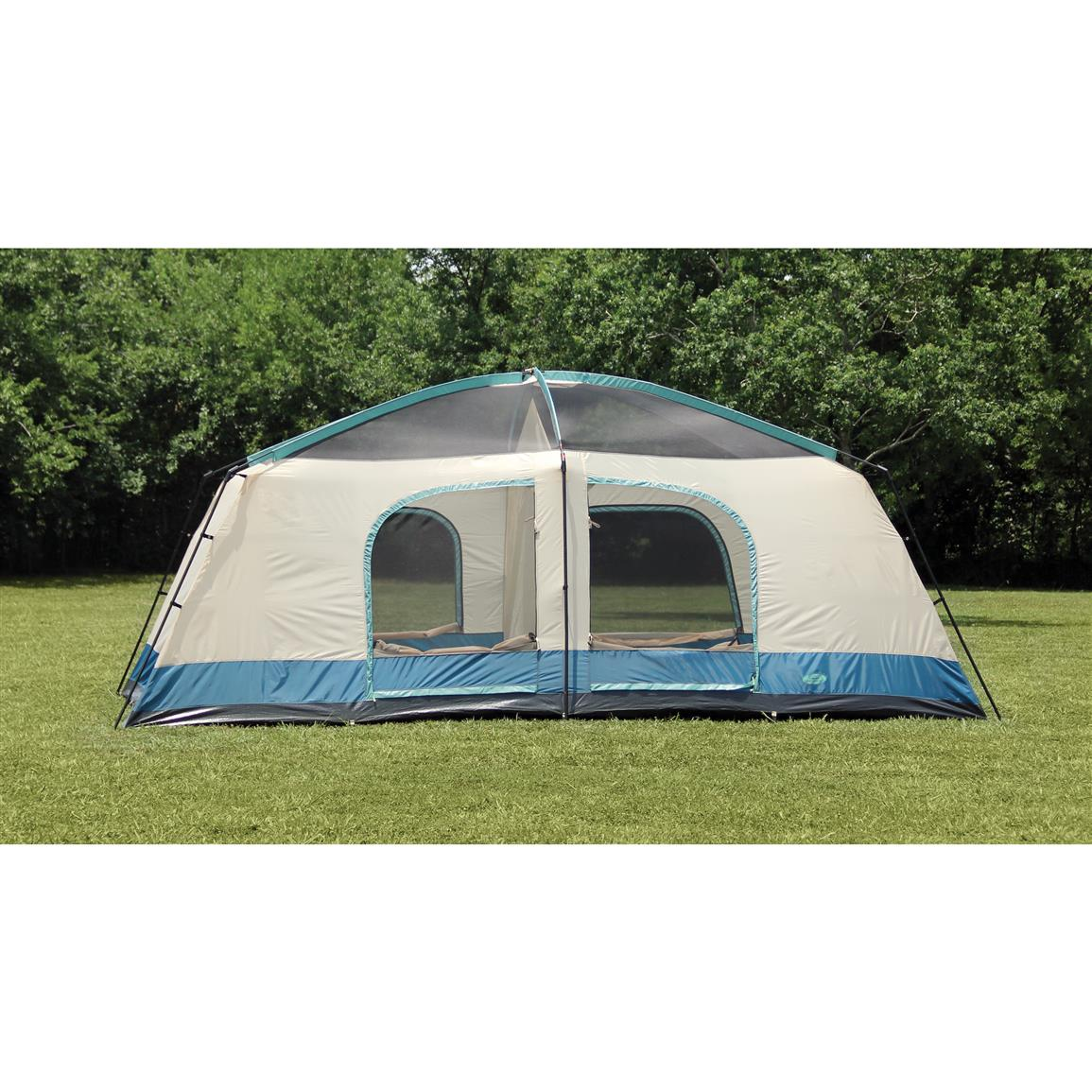 6 rust-resistant 3/4  powder-coated chain-corded steel  sc 1 st  Sportsmanu0027s Guide & Texsport Blue Mountain 2-Room Cabin Dome Tent - 656533 Cabin ...