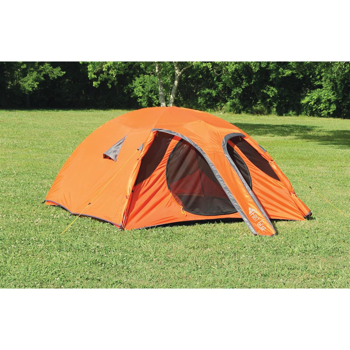 Texsports Orange Mountain Tent, 3 Person • with Full rainfly