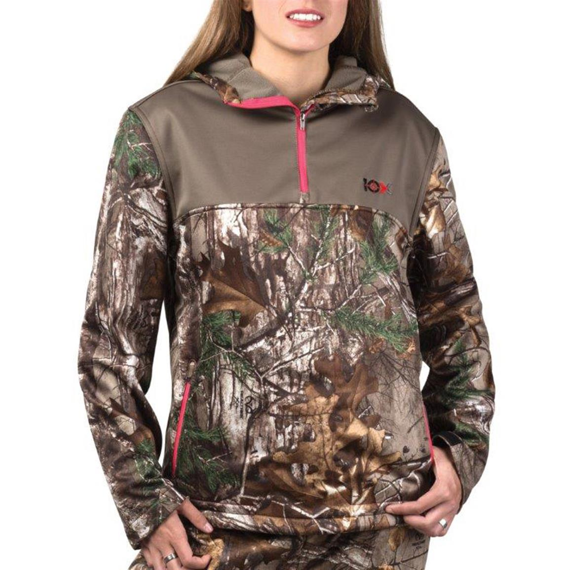10X Women's Camo Tech Hoodie, Mossy Oak Break-Up Country
