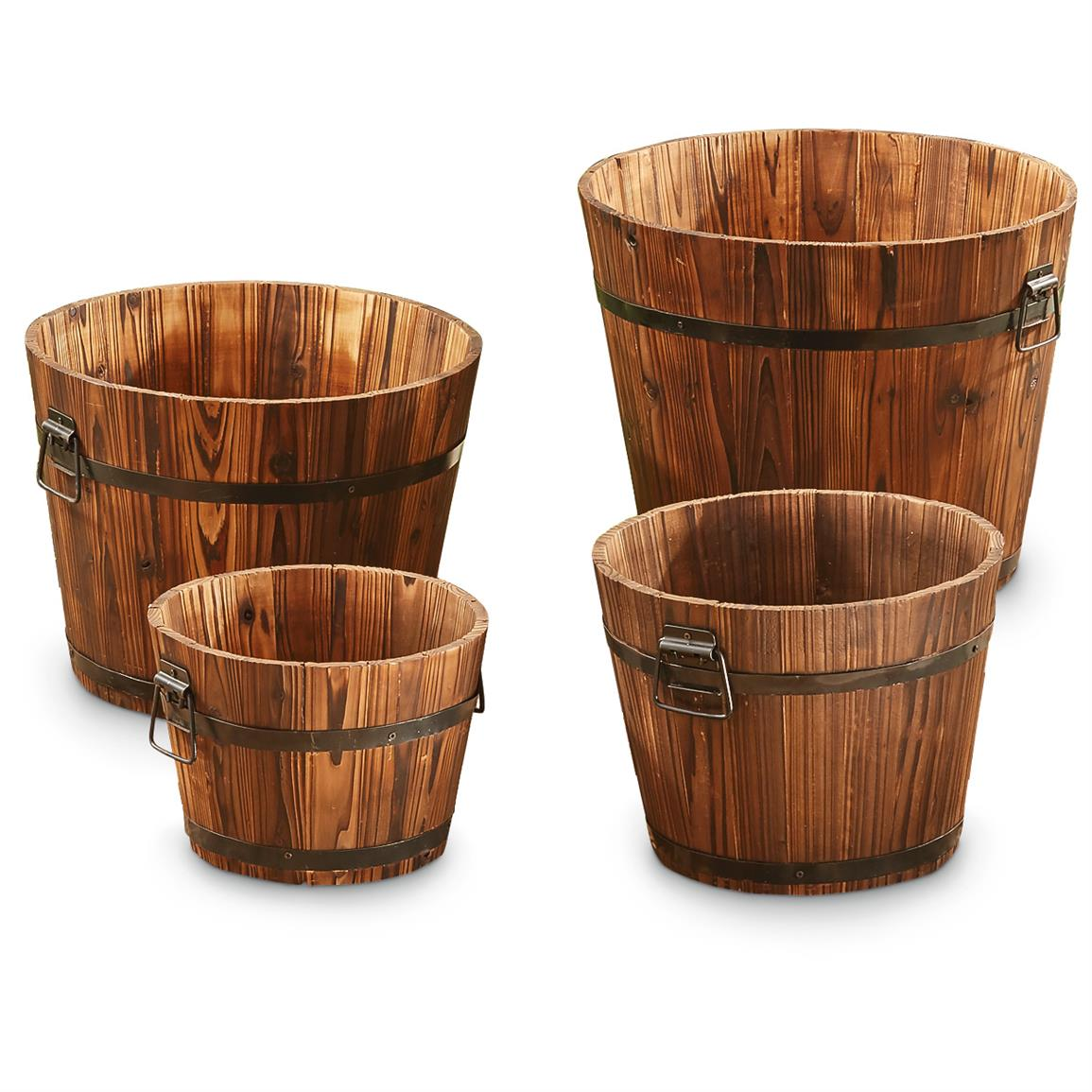 4-Pc. CASTLECREEK Wooden Barrel Planter Set